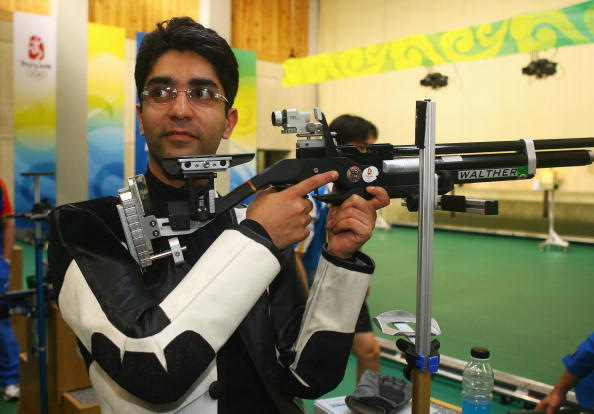 BEIJING - AUGUST 11: Gold medalist Abhinav Bindra of India poses after the Men's 10m Air Rifle Final at the Beijing Shooting Range Hall on day 3 of the Beijing 2008 Olympic Games on August 11, 2008 in Beijing, China. (Photo by Jeff Gross/Getty Images)