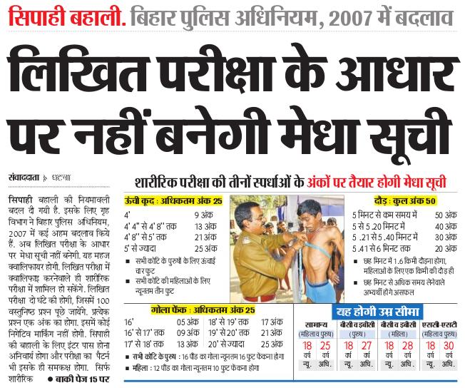 Bihar Police Bharti Selection Procedure मेरिट, Physical