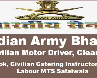 Indian Army Civil Job MTS, Driver Recruitment 2021-10th Pass