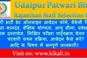 उदयपुर पटवारी भर्ती 2021 Udaipur Patwari Bharti Program 2021
