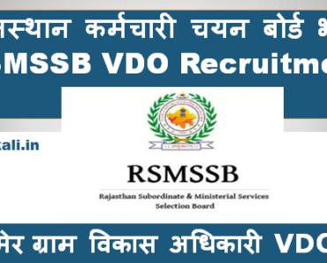 जैसलमेर ग्राम विकास अधिकारी भर्ती 2021 Jaisalmer VDO Bharti Program 2021