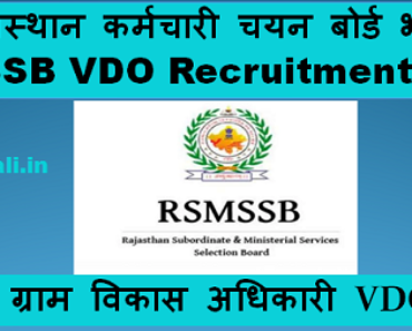 जालौर ग्राम विकास अधिकारी भर्ती 2021 Jalore VDO Bharti Program 2021